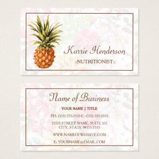 Cartes De Visite Nutritionniste tropical élégant floral et d'ananas
