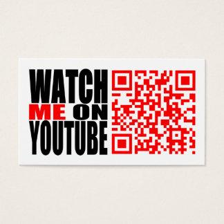 Cartes De Visite Observez-moi sur YouTube   modernes (foncé)