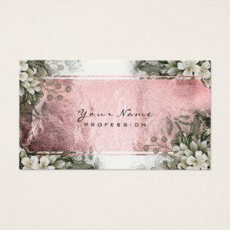 Cartes De Visite Or blanc de rose vert en bon état floral de rose