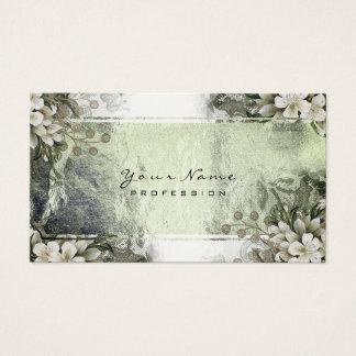 Cartes De Visite Or blanc en bon état floral d'or vert d'événement