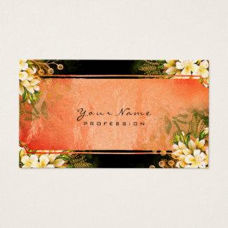 Cartes De Visite Or de corail vert en bon état floral de rose blanc