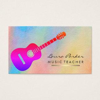 Cartes De Visite Or d'instrument de joueur de guitare de professeur