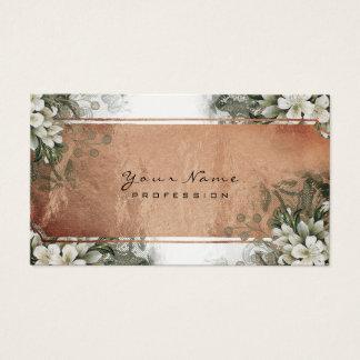 Cartes De Visite Or en bon état floral de rose blanc d'or vert