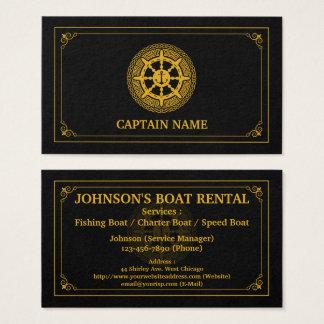 Cartes De Visite Or noir de location de bateau élégant