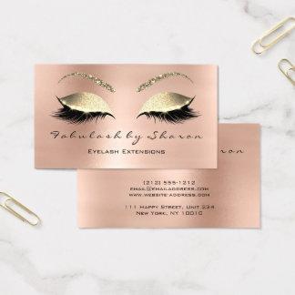 Cartes De Visite Or rose de cristal de scintillement de mèches de