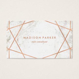 Cartes De Visite Or rose de Faux moderne géométrique sur le marbre