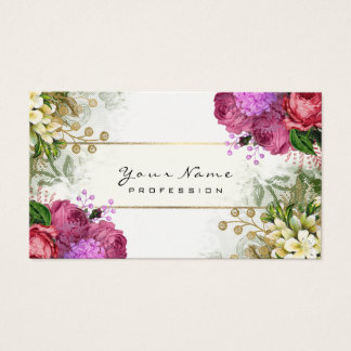 Cartes De Visite Or vert floral de rose de roses rouges