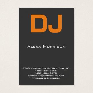 Cartes De Visite Orange grise professionnelle moderne du DJ