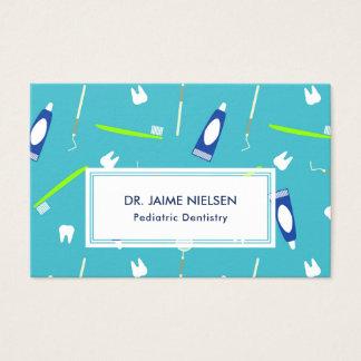 Cartes De Visite Outils bleus et verts d'art dentaire - dentiste