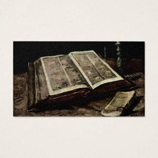 Cartes De Visite Ouvrez le livre de bible avec des bougies - Van