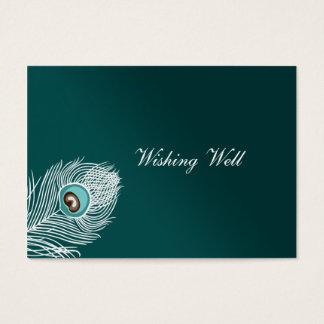 Cartes De Visite Paon blanc et turquoise élégant souhaitant les