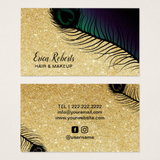 Cartes De Visite Paon chic de parties scintillantes d'or de salon