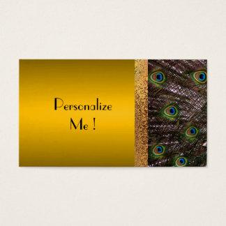 Cartes De Visite Paon frais d'or épousant à la mode moderne élégant