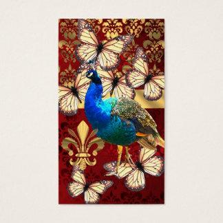 Cartes De Visite Paon vintage élégant et damassé rouge