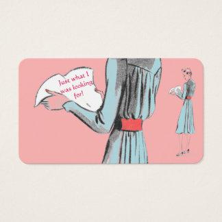 Cartes De Visite Papier bleu de lecture de dame de rose chic