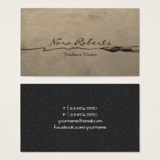 Cartes De Visite Papier de Brown de stylo d'immersion de noir de
