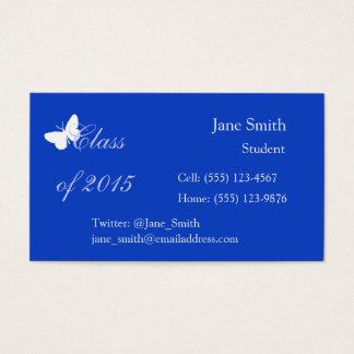 Cartes De Visite Papillon bleu et blanc d'obtention du diplôme