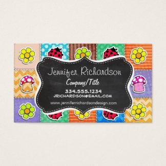 Cartes De Visite Papillon, coccinelle, et fleur mignons et colorés