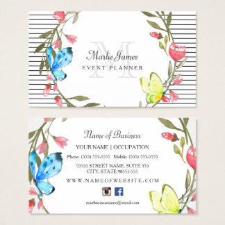 Cartes De Visite Papillon Girly floral et organisateur de rayures