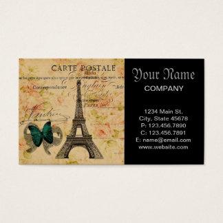 Cartes De Visite Paris vintage scripts Tour Eiffel chic minable