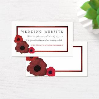 Cartes De Visite Pavots et site Web rouges de mariage de toile de