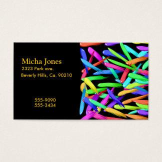 Cartes De Visite Peignez les filets dans un arc-en-ciel de couleurs