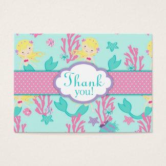 Cartes De Visite Petite étiquette L blonde de cadeau de la sirène