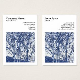 Cartes De Visite Photo carrée (v3) - arbres en hiver - Cyanotype