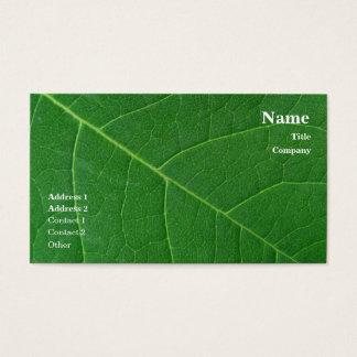 Cartes De Visite Photo en gros plan verte de feuille simple