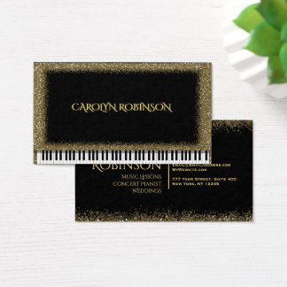 Cartes De Visite Piano de scintillement d'or