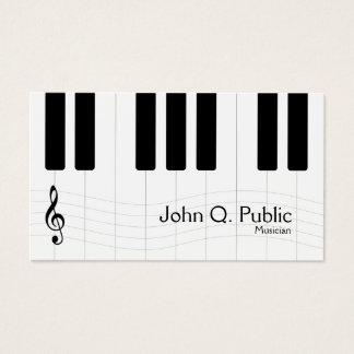 Cartes De Visite Piano noir et blanc de musicien