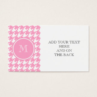 Cartes De Visite Pied-de-poule rose et blanc Girly votre monogramme