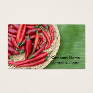 Cartes De Visite Piments rouges sur la feuille de banane