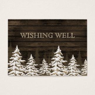 Cartes De Visite Pins rustiques de Barnwood, hiver souhaitant bien