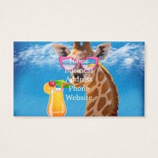 Cartes De Visite Plage de girafe - girafe drôle
