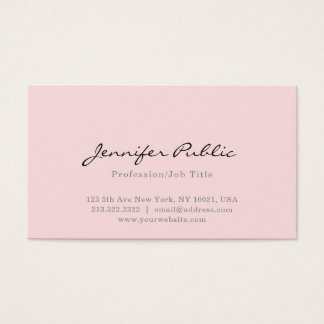 Cartes De Visite Plaine moderne professionnelle simple rose