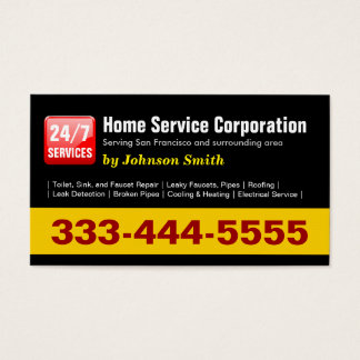 Cartes De Visite Plombier - 24 Hours Home Service Corporation