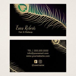 Cartes De Visite Plume de paon d'or de coiffeur de maquilleur