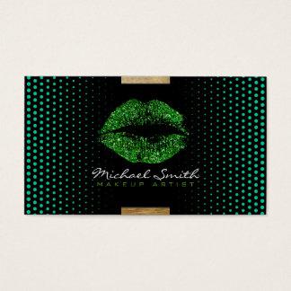 Cartes De Visite Points modernes #10 de maquilleur vert élégant de