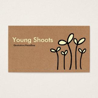 Cartes De Visite Pousses de jeunes - crèmes et noires sur le carton