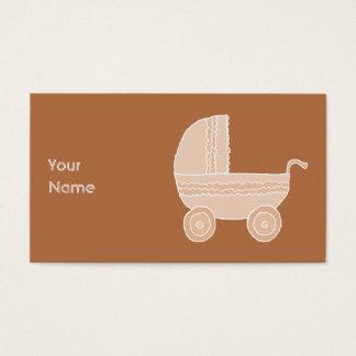 Cartes De Visite Poussette de bébé beige démodée sur Brown