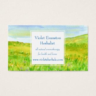 Cartes De Visite Pré de fleur sauvage d'herbe de prairie de fines