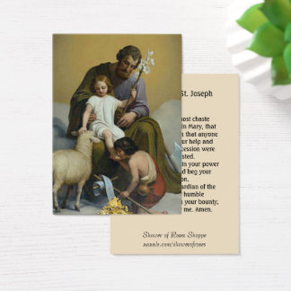 Cartes De Visite Prière de Memorare d'agneau de lis de St Joseph