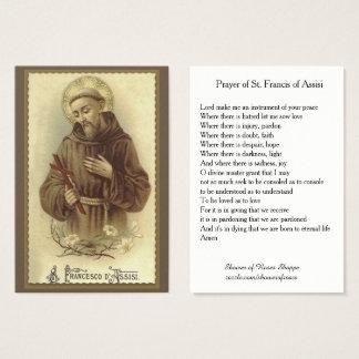 Cartes De Visite Prière de St Francis d'Assisi saint