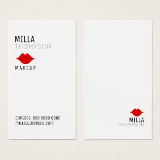 Cartes De Visite pro blanc de salon vertical simple de maquilleur