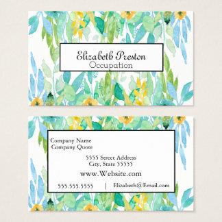 Cartes De Visite Professionnel floral feuillu de jolie aquarelle