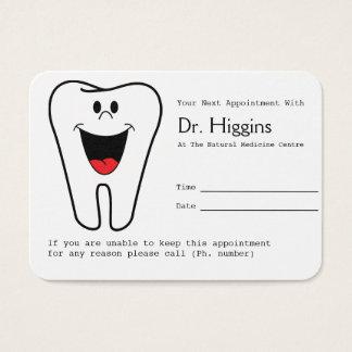 Cartes De Visite Rappel heureux de rendez-vous de dentiste de dent
