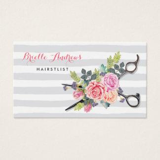 Cartes De Visite Rayures argentées chics et roses de styliste en