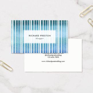 Cartes De Visite Rayures bleues d'aquarelle