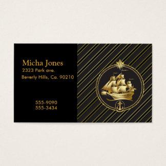 Cartes De Visite Rayures métalliques d'or d'or de bateau et d'ancre